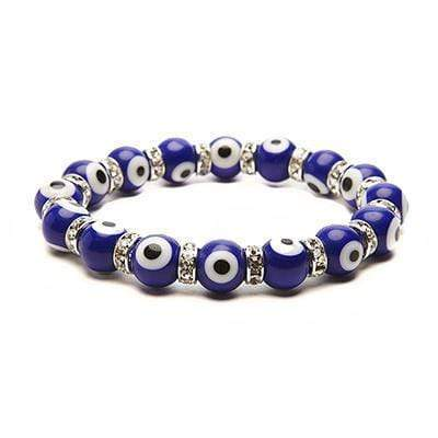 Kalifano Evil Eye Jewelry Cobalt Evil Eye Glass Bracelet with Cubic Zirconia Crystals BLUE-BEE-33