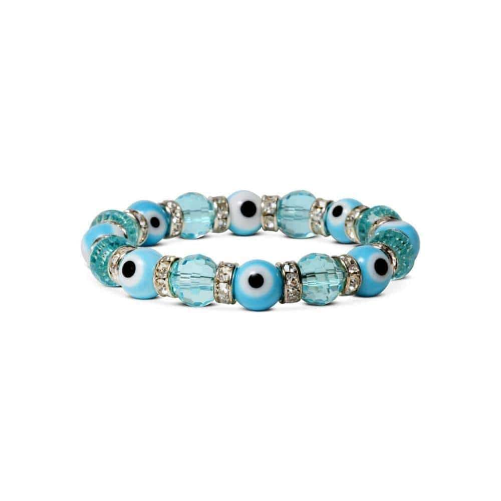 Kalifano Evil Eye Jewelry Turquoise Evil Eye Glass Bracelet with Cubic Zirconia Crystals BLUE-BEE-12