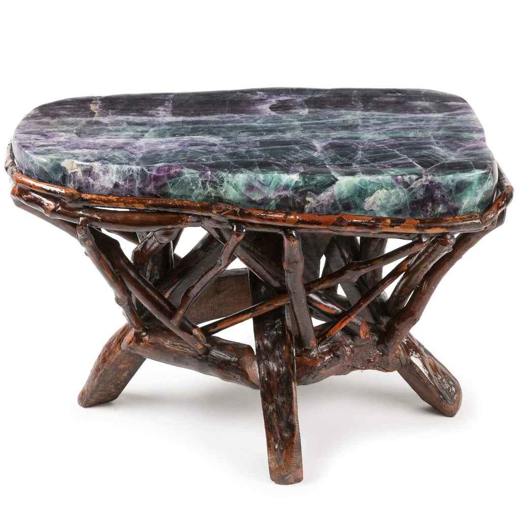 Kalifano Fossils & Minerals Natural Fluorite Stool on Custom Cherry Wood Base CV1200.001
