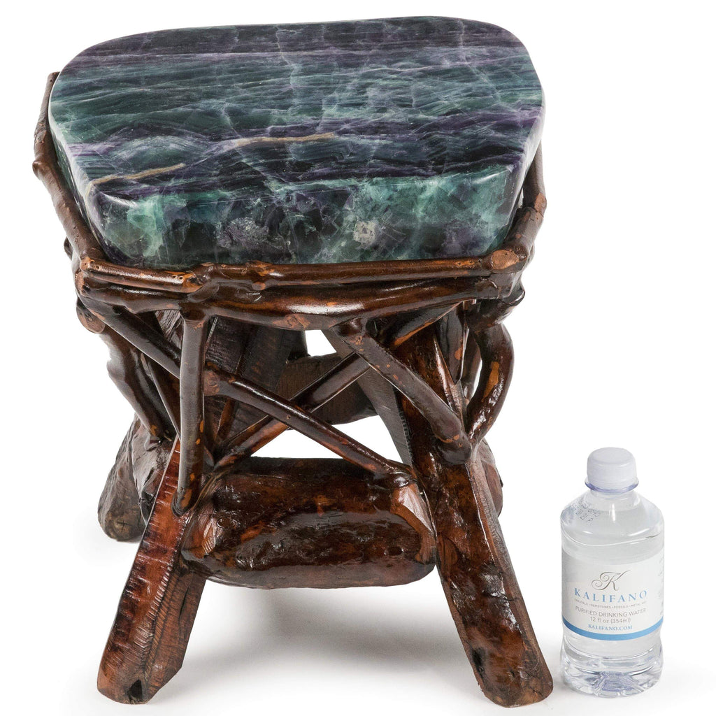 Kalifano Fossils & Minerals Natural Fluorite Stool on Custom Cherry Wood Base CV900.002