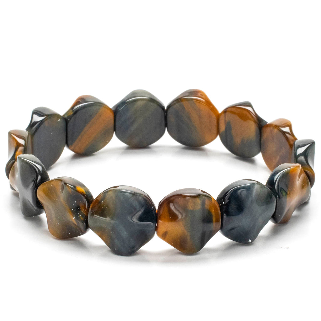 Kalifano Gemstone Bracelets Blue and Yellow Tiger Eye Gemstone Elastic Bracelet WHITE-BGP-046
