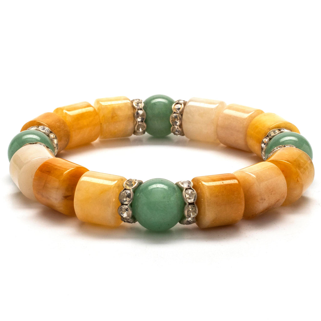 Kalifano Gemstone Bracelets Butter Jade and Aventurine with Crystal Accents Gemstone Elastic Bracelet WHITE-BGP-036