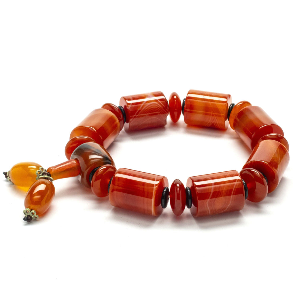 Kalifano Gemstone Bracelets Carnelian with Carnelian and Black Agate Gemstone Elastic Braceletwith Tassel WHITE-BGP-021