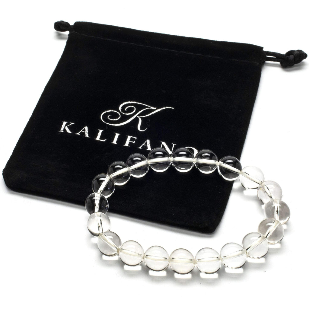 Kalifano Gemstone Bracelets Clear Quartz 10mm Gemstone Bead Elastic Bracelet WHITE-BGP-030