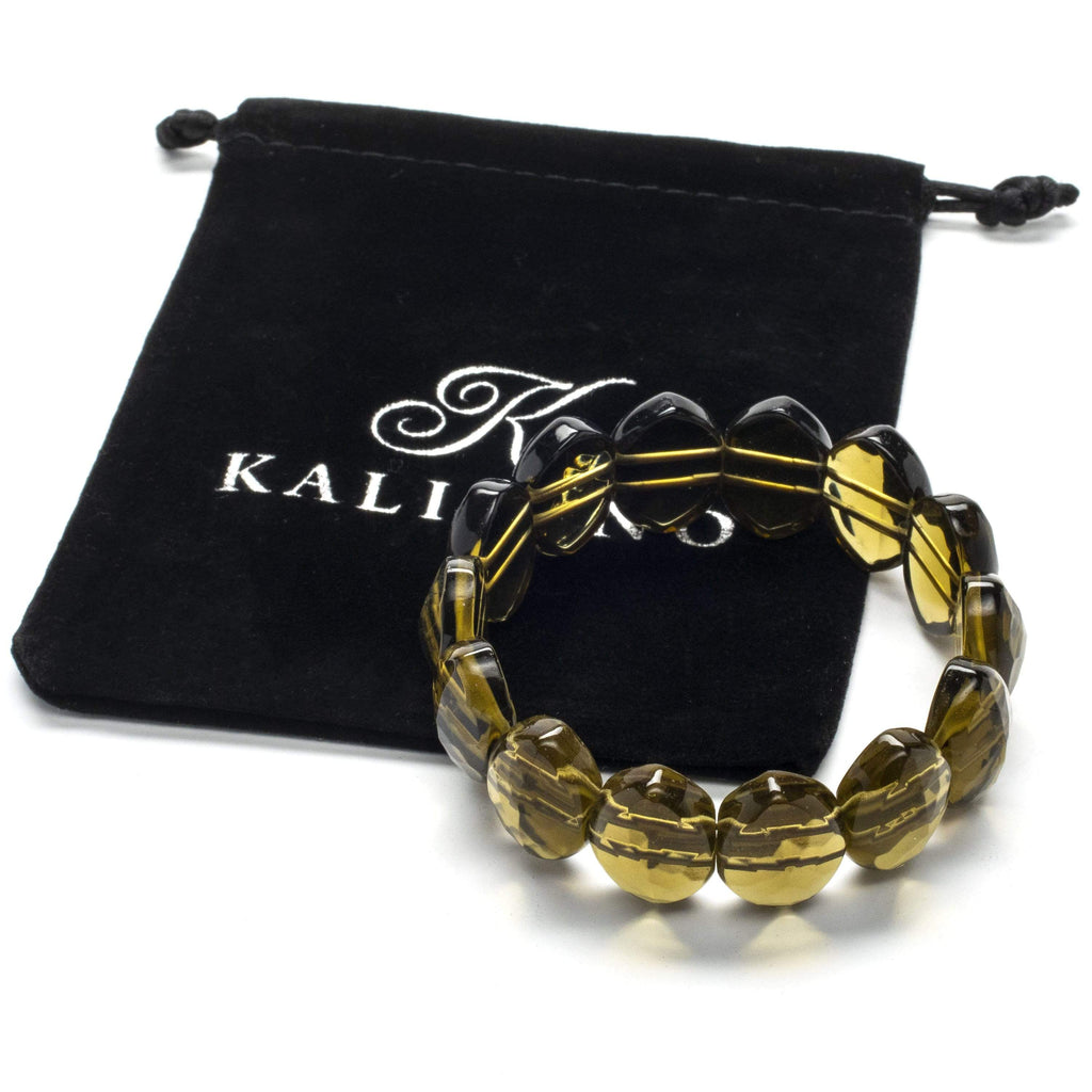 Kalifano Gemstone Bracelets Diamond Shape Smokey Quartz Faceted Gemstone Elastic Bracelet WHITE-BGP-017