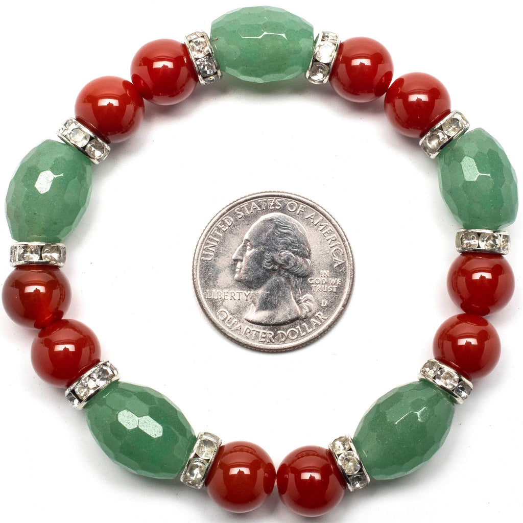Kalifano Gemstone Bracelets Faceted Aventurine and Round Carnelian with Crystal Accents Gemstone Elastic Bracelet WHITE-BGP-034