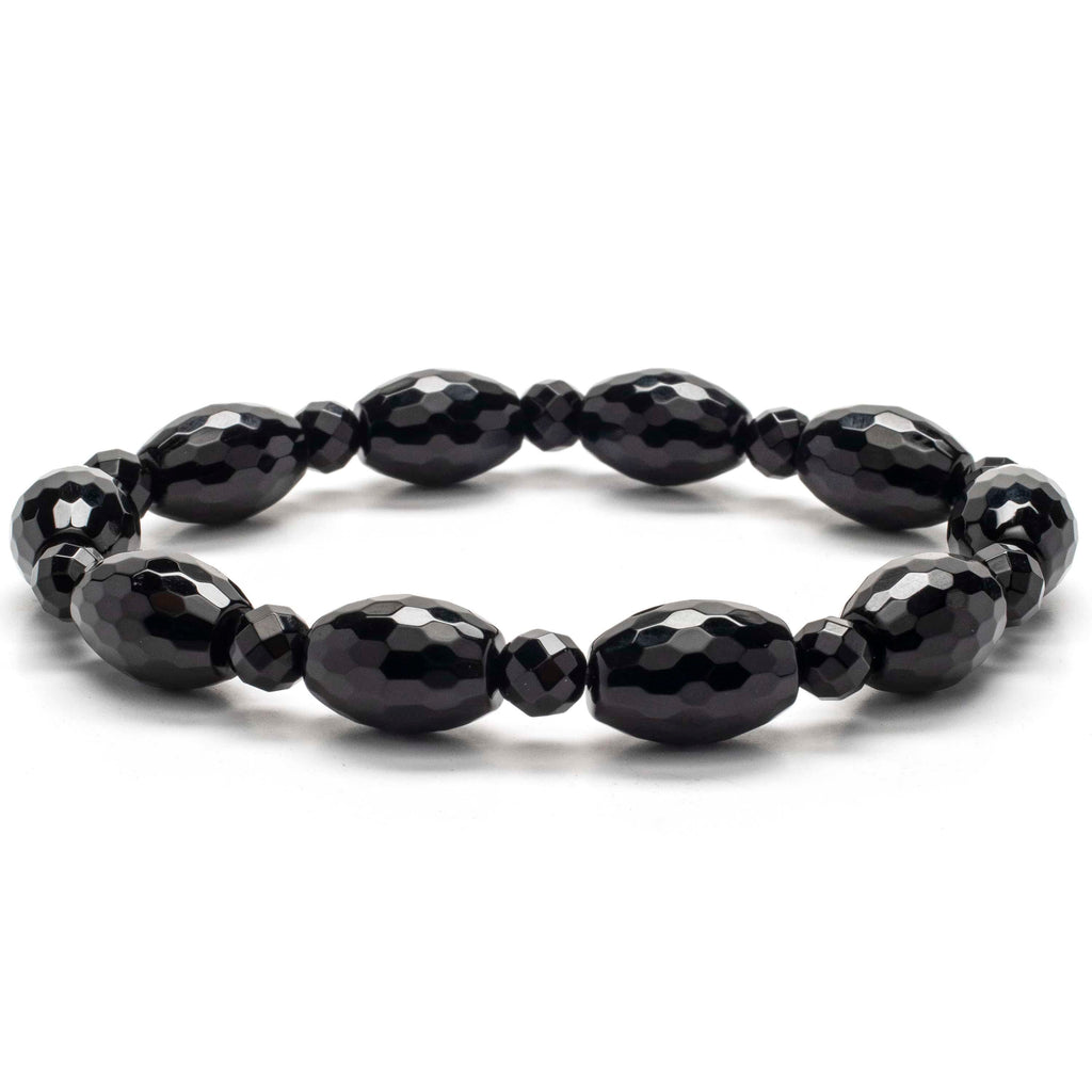 Kalifano Gemstone Bracelets Faceted Black Agate and Oval Gemstone Elastic Bracelet WHITE-BGP-032