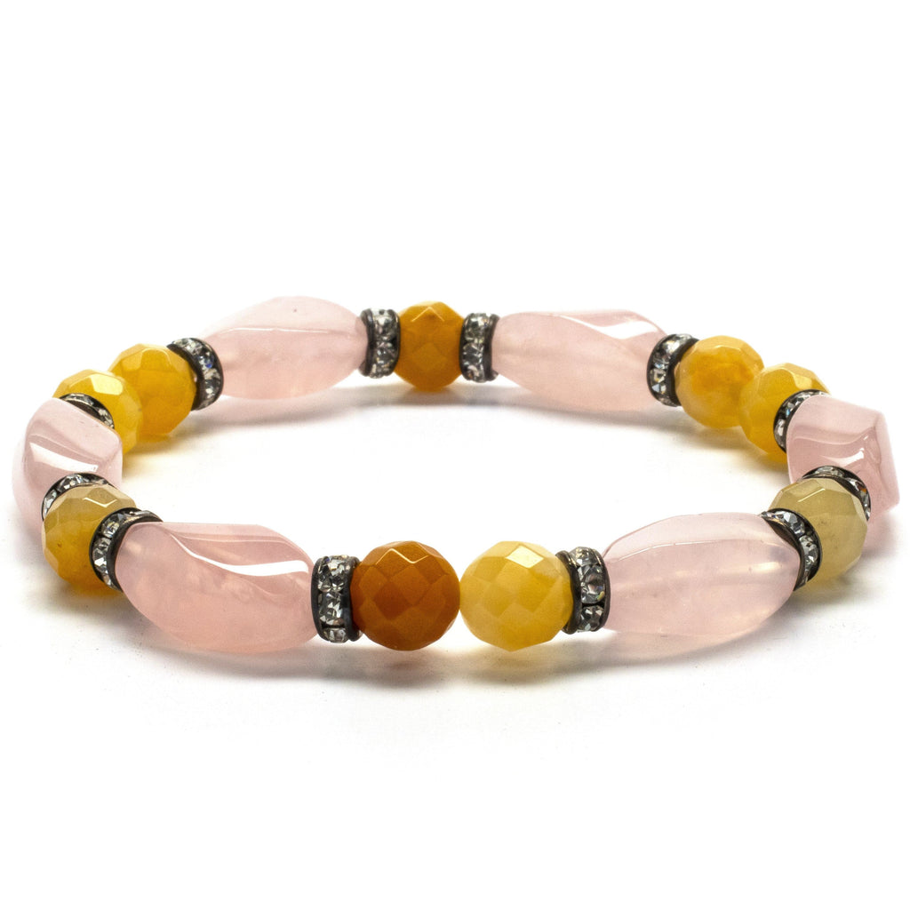 Kalifano Gemstone Bracelets Faceted Butter Jade and Rose Quartz Gemstone Elastic Braceletwith Crystal Accent Beads WHITE-BGP-023
