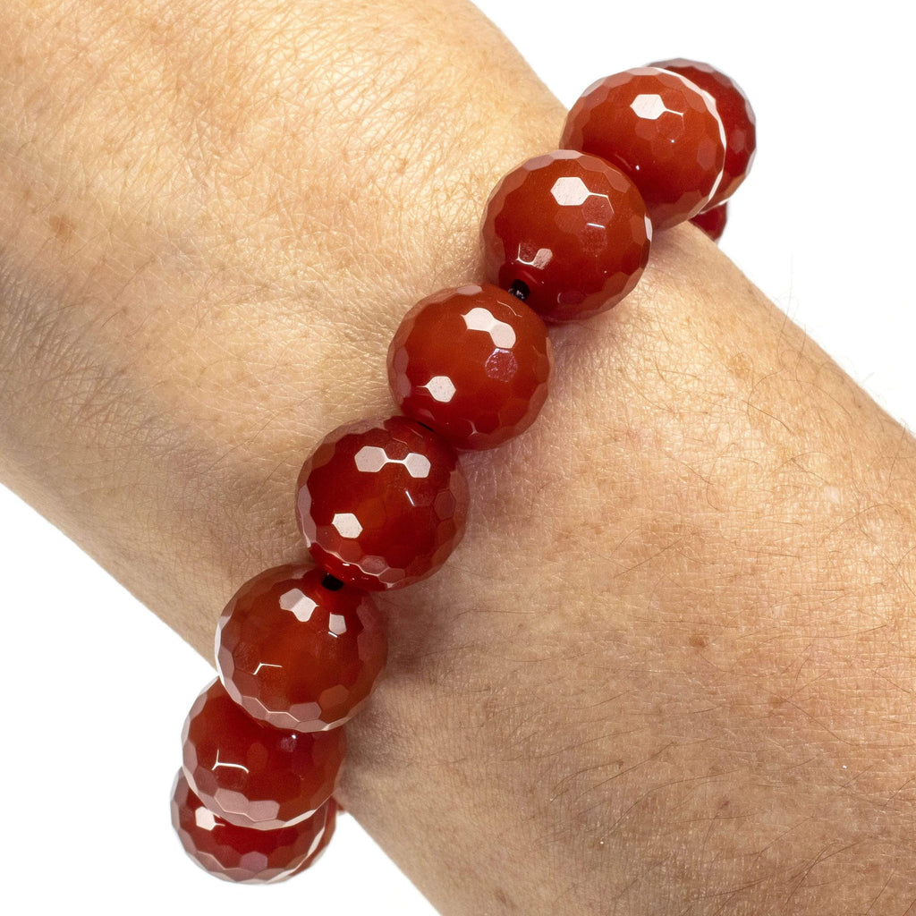 Kalifano Gemstone Bracelets Faceted Carnelian 14mm Gemstone Bead Elastic Bracelet WHITE-BGP-035