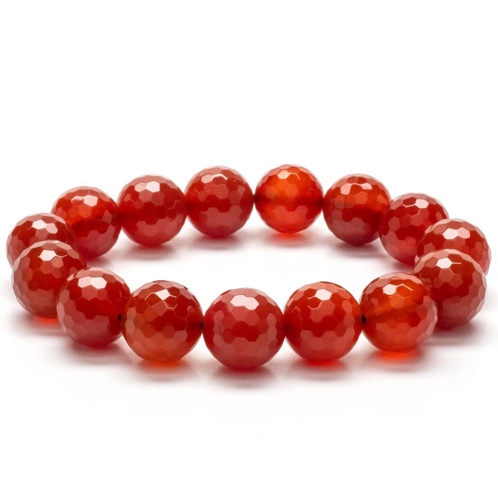Kalifano Gemstone Bracelets Faceted Carnelian 14mm Gemstone Bead Elastic Bracelet WHITE-BGP-047