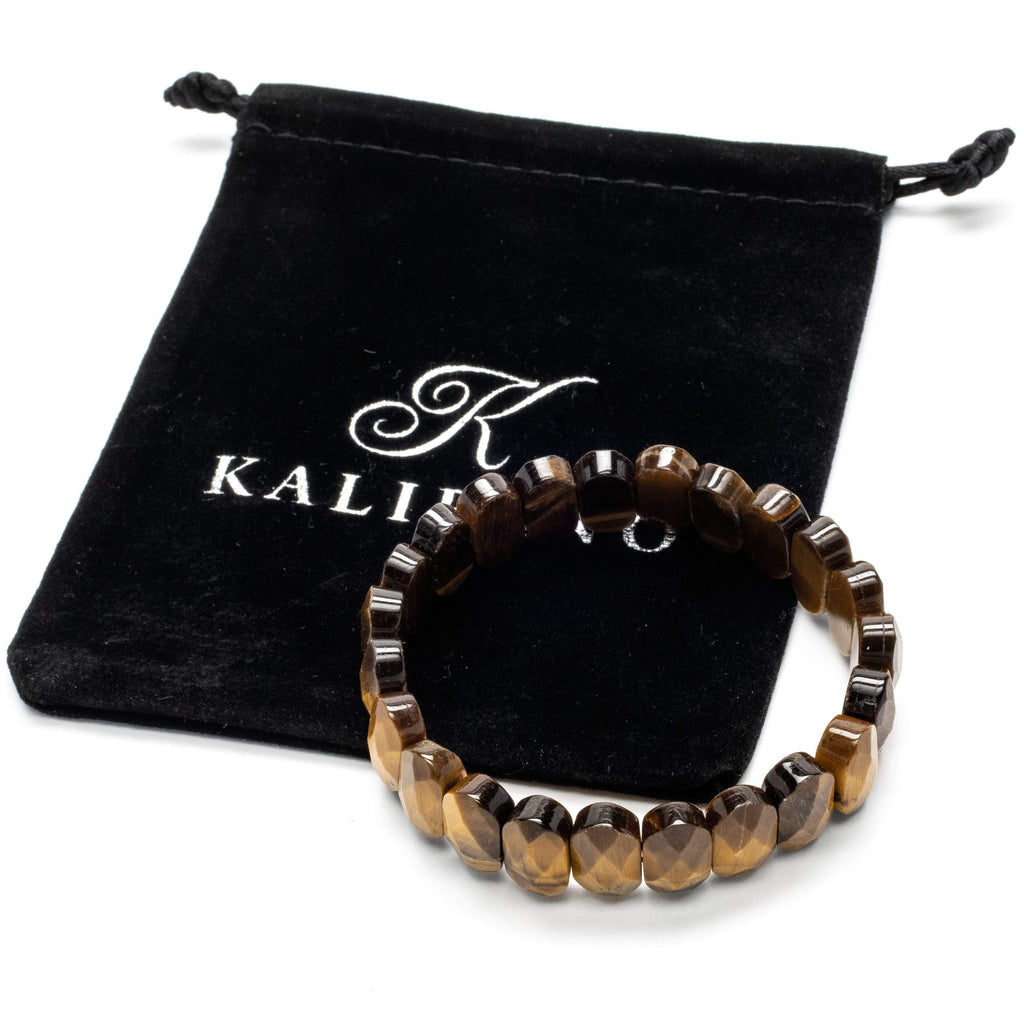 Kalifano Gemstone Bracelets Faceted Tiger Eye Oval Gemstone Elastic Bracelet WHITE-BGP-041