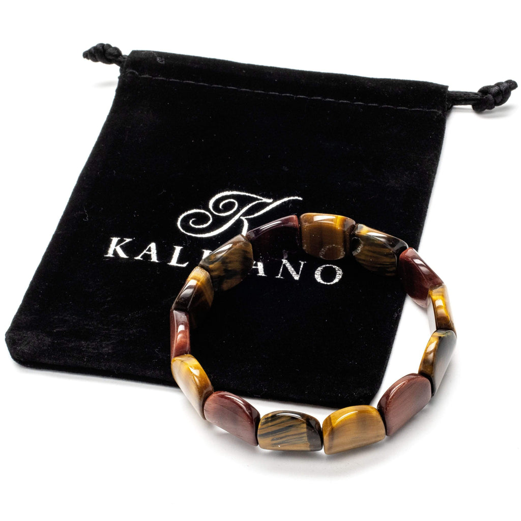 Kalifano Gemstone Bracelets Flat and Round Tiger Eye Gemstone Elastic Bracelet WHITE-BGP-043
