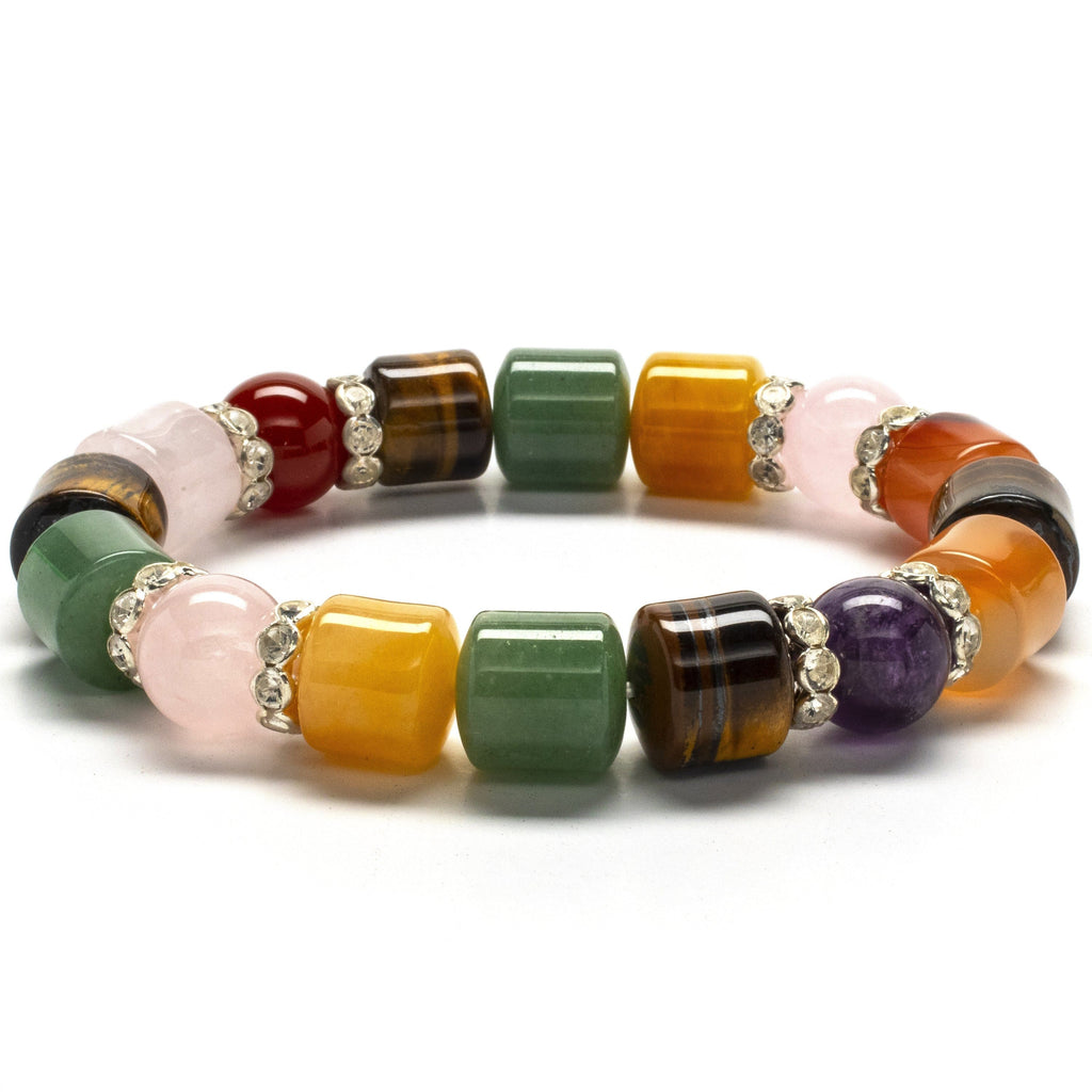Kalifano Gemstone Bracelets Multi-Gemstone with Crystal Accents Gemstone Elastic Bracelet WHITE-BGP-025