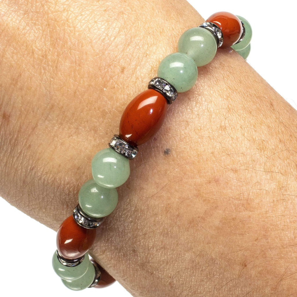 Kalifano Gemstone Bracelets Oval Carnelian with Round Aventurine Beads and Crystal Accents Gemstone Elastic Bracelet WHITE-BGP-031