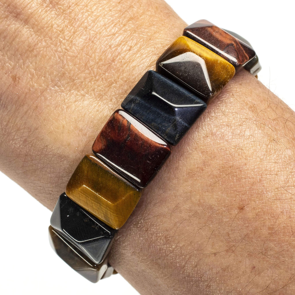 Kalifano Gemstone Bracelets Red, Blue, and Yellow Rectangular Tiger Eye Gemstone Elastic Bracelet WHITE-BGP-040