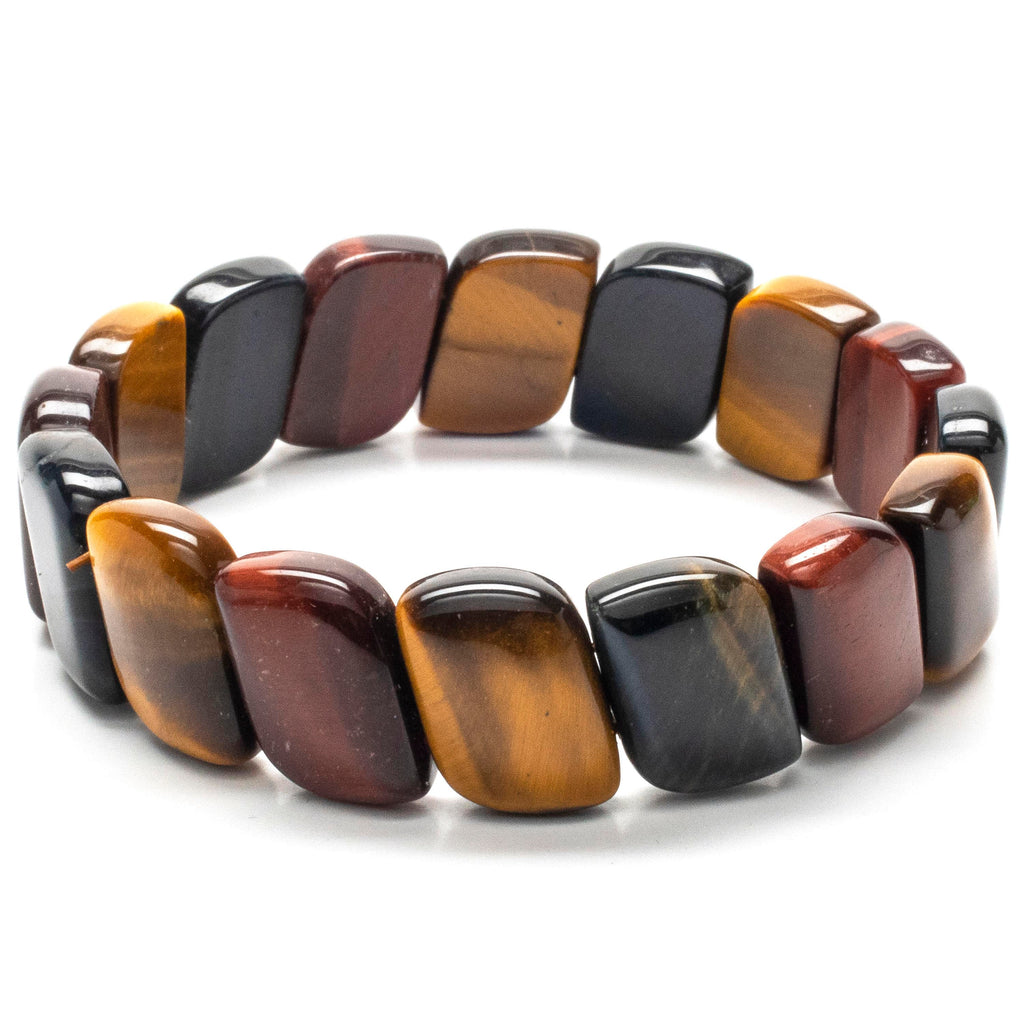 Kalifano Gemstone Bracelets Red, Blue, and Yellow Tiger Eye Diagonal Gemstone Elastic Bracelet WHITE-BGP-039