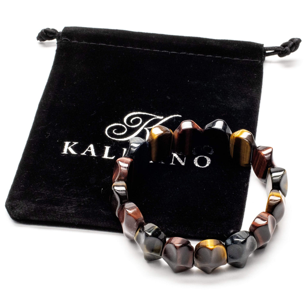 Kalifano Gemstone Bracelets Red, Blue, and Yellow Tiger Eye Gemstone Elastic Bracelet WHITE-BGP-044