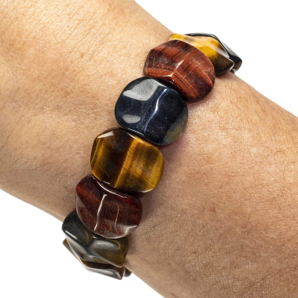 Kalifano Gemstone Bracelets Red, Blue, and Yellow Tiger Eye Gemstone Elastic Bracelet WHITE-BGP-045