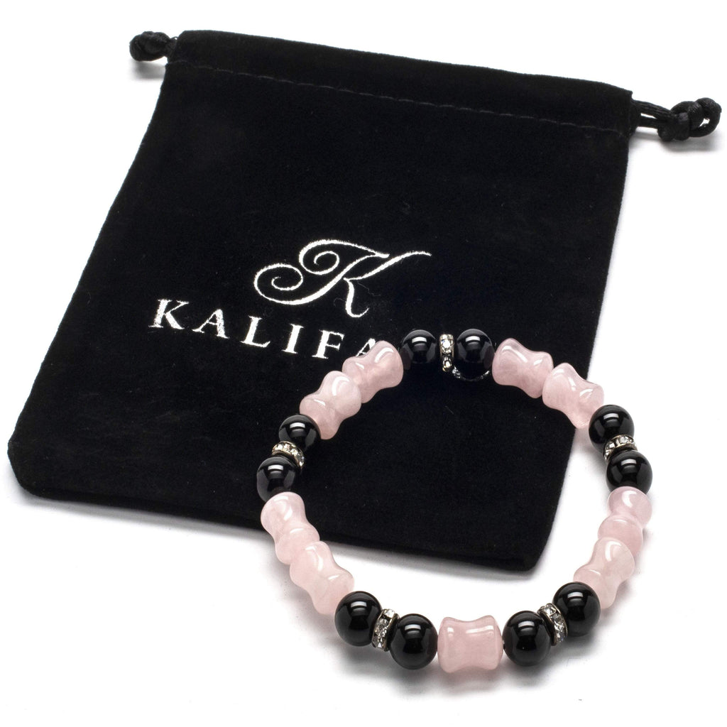 Kalifano Gemstone Bracelets Rose Quartz and Black Agate Crystal Accent Beads Gemstone Elastic Bracelet WHITE-BGP-033