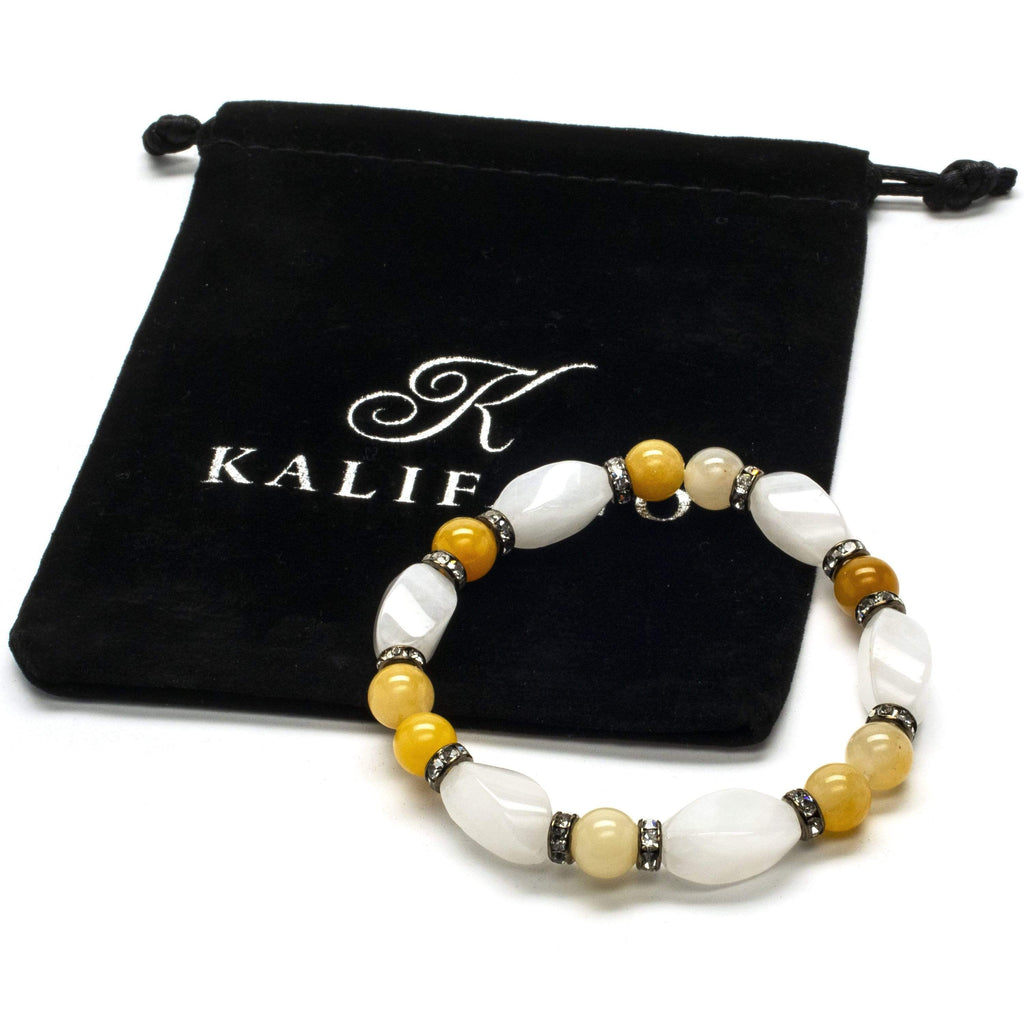 Kalifano Gemstone Bracelets Round Butter Jade and Light Rose Quartz Gemstone Elastic Braceletwith Crystal Accent Beads WHITE-BGP-022