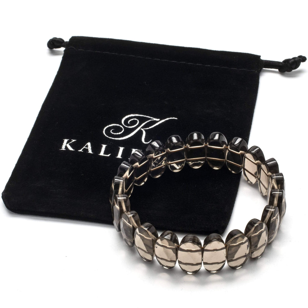 Kalifano Gemstone Bracelets Smokey Quartz Faceted Elastic Gemstone Bracelet WHITE-BGP-027