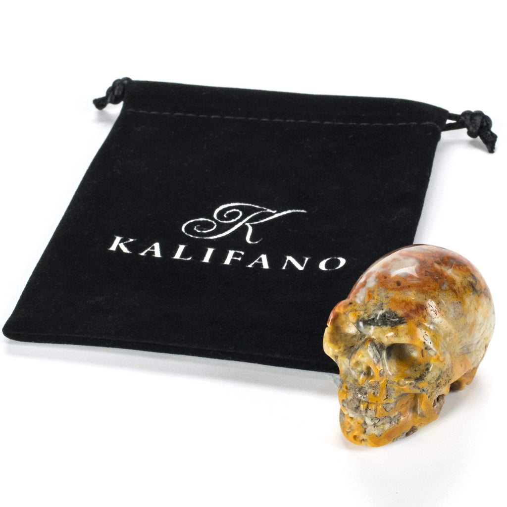 Kalifano Gemstone Carvings Crazy Lace Agate Skull 2'' Natural Gemstone Carving CV29-SK-CLA