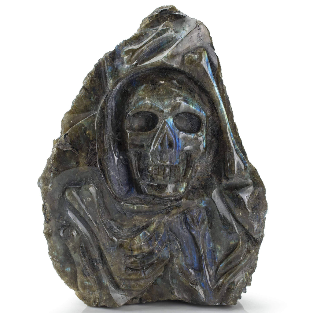 Kalifano Gemstone Carvings Labradorite Hand-Carved Skull Carving CV1500.001