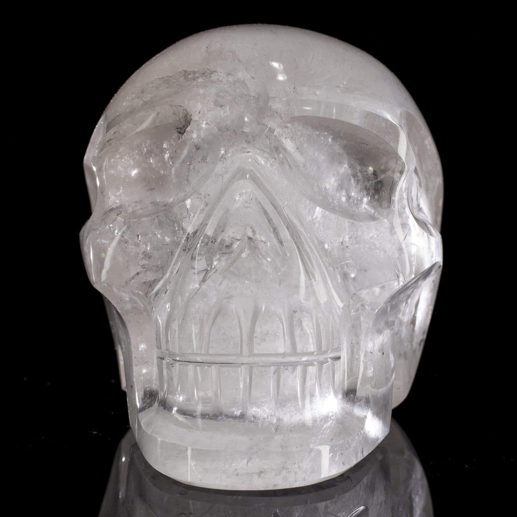 Natural Hand Carved Brazilian Quartz Skull - 3.6 in. / 4 lbs