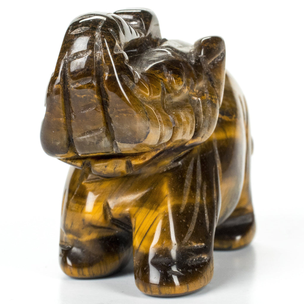 "Kalifano Gemstone Carvings Tiger Eye Elephant 2.5"" Gemstone Carving CV30-E-TE"