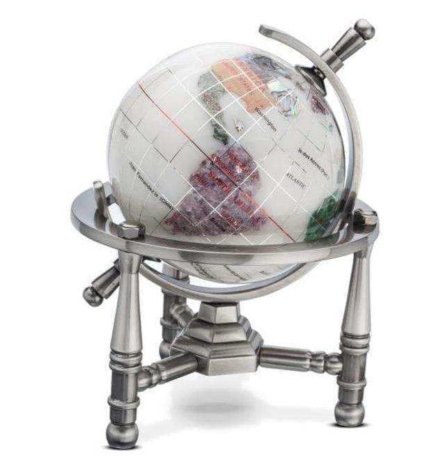 "Kalifano Gemstone Globes 3"" Gemstone Globe with Opal Opalite Ocean with Antique Silver Nautical 3-Leg Stand GNT80AS-OPL"