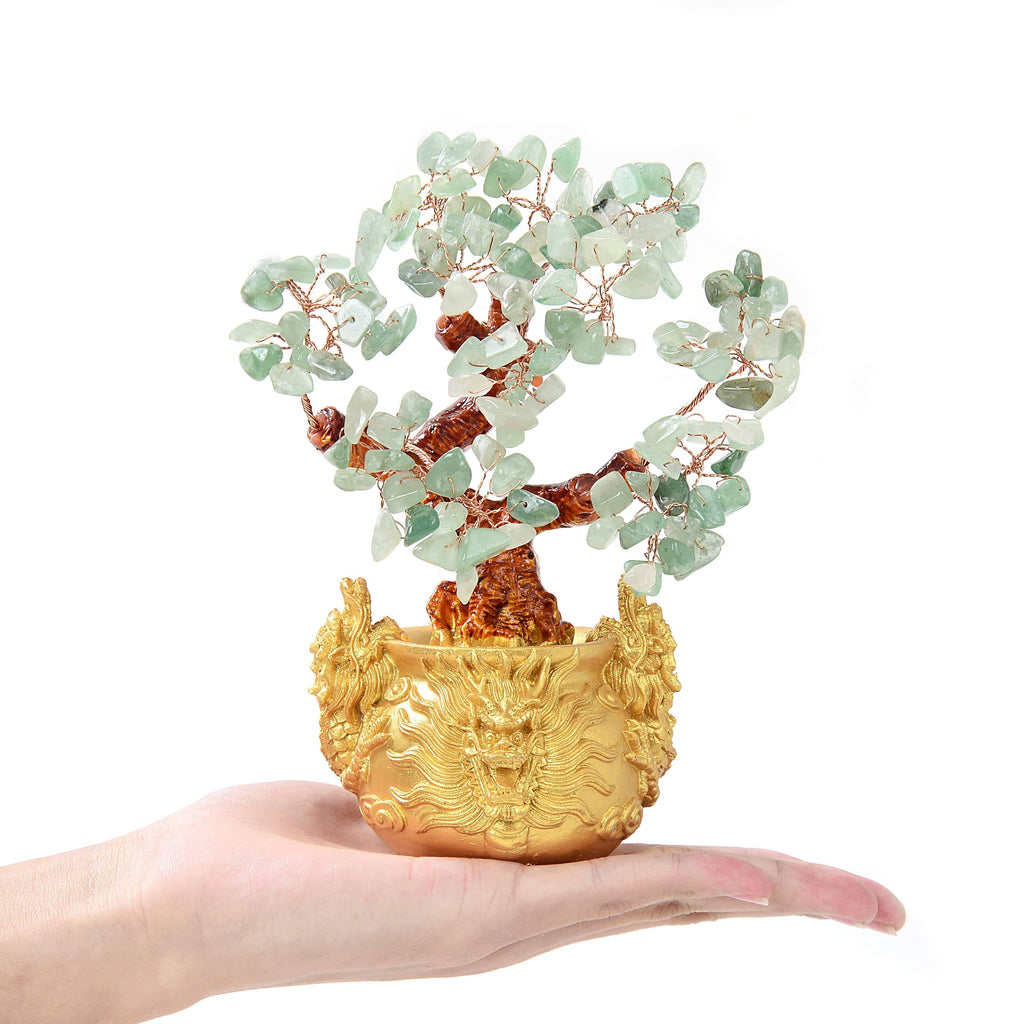 Aventurine Natural Gemstone Tree of Life with Dragon Base on the palm of a hand
