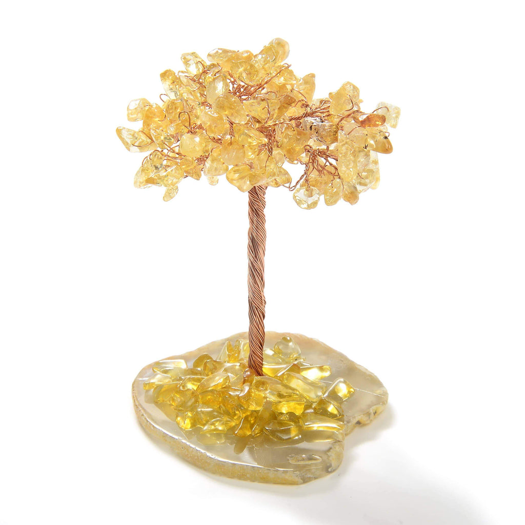 Citrine Natural Gemstone Tree of Life with Agate Base front view