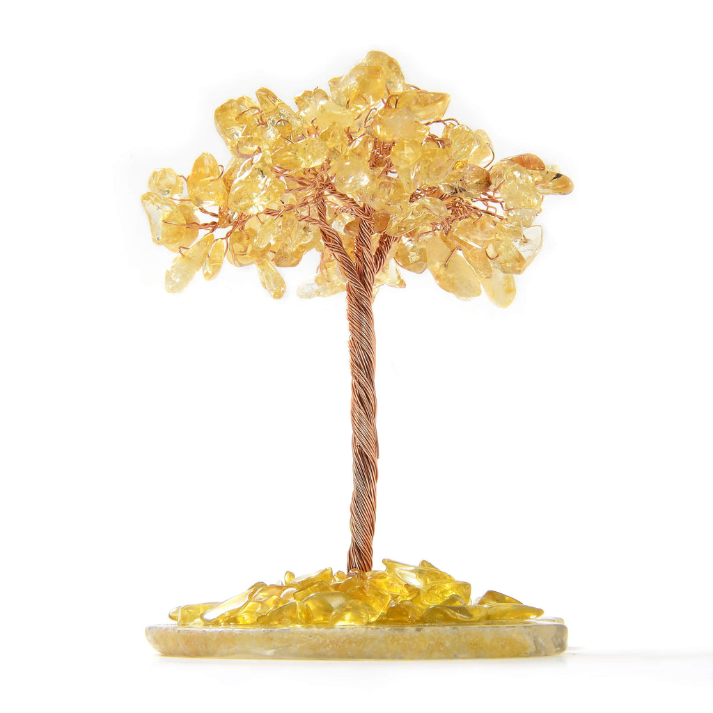 Citrine Natural Gemstone Tree of Life with Agate Base side view