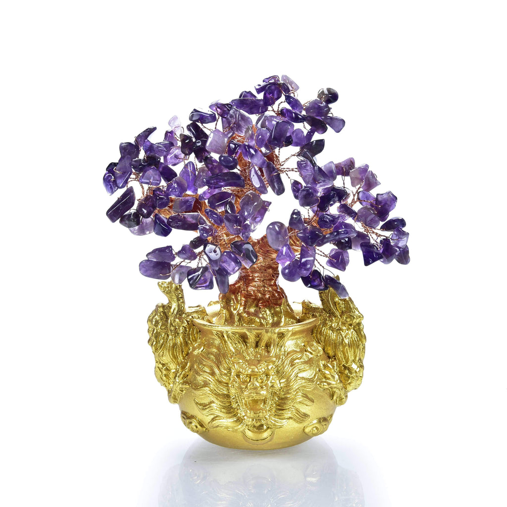 Kalifano Gemstone Trees K930DB-AM - Natural Gemstone Tree of Life  w/ Dragon Base - Amethyst K930DB-AM