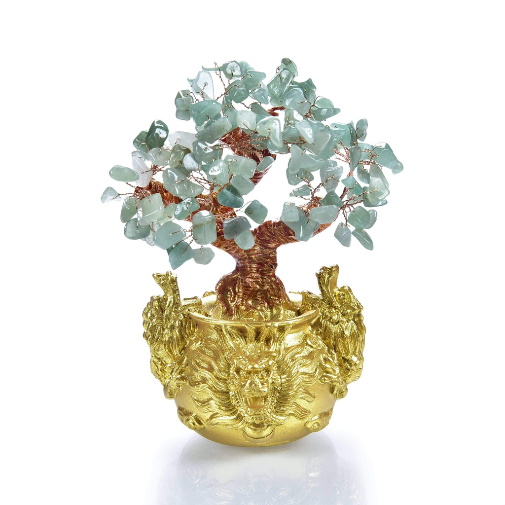 Aventurine Natural Gemstone Tree of Life with Dragon Base front view