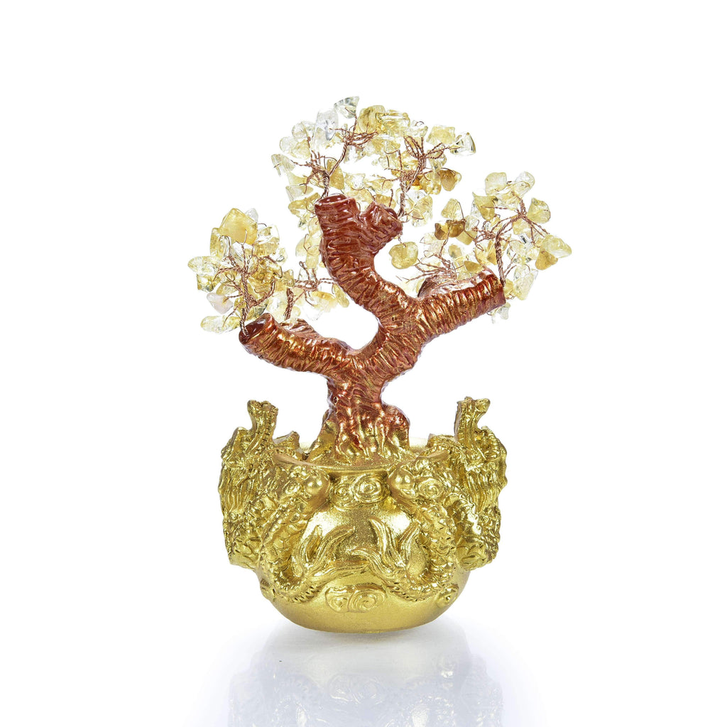 Citrine Natural Gemstone Tree of Life with Dragon Base back view