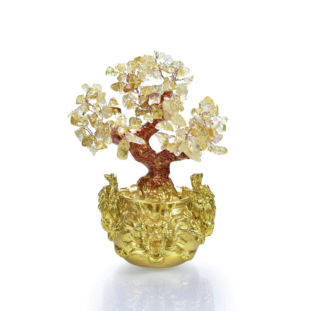 Citrine Natural Gemstone Tree of Life with Dragon Base front view