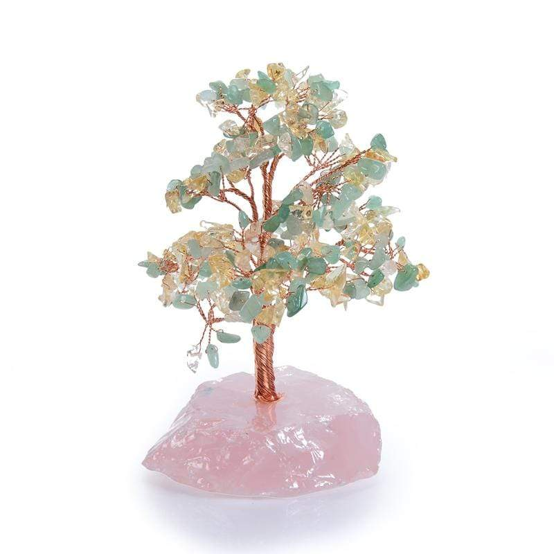 Kalifano Gemstone Trees K965R-AC - Natural Gemstone Tree of Life  - Aventurine & Citrine with Rose Quartz Base K965R-AC