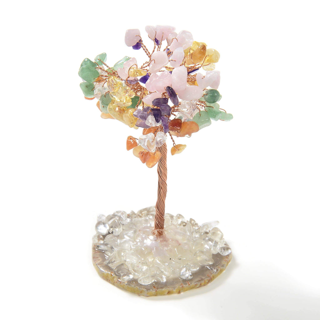 Multi-color Natural Gemstone Tree of Life with Agate Base front view