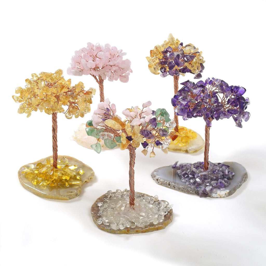 Group of Natural Gemstone Trees of Life with Agate Base