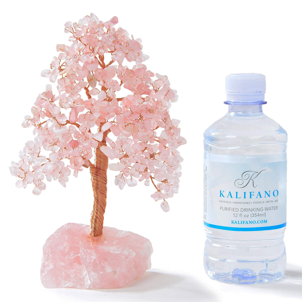 Kalifano Gemstone Trees Rose Quartz Tree of Life on Rose Quartz Base with 414 Natural Gemstones K965R-RQ
