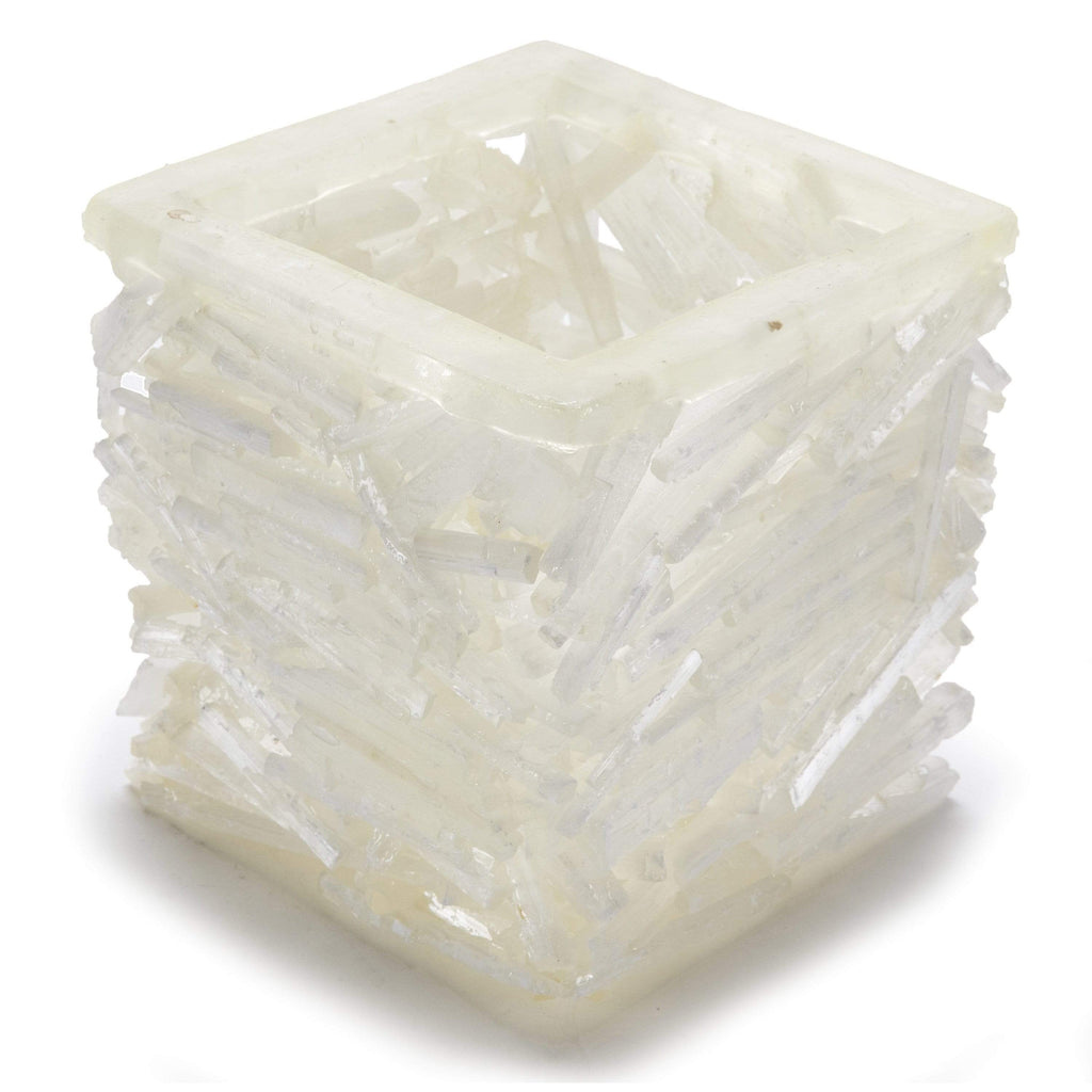 Kalifano Gemstone Vases HAPPY HOLIDAYS from KALIFANO - Selenite Nest Vase - 2.5 kg GNM-SL