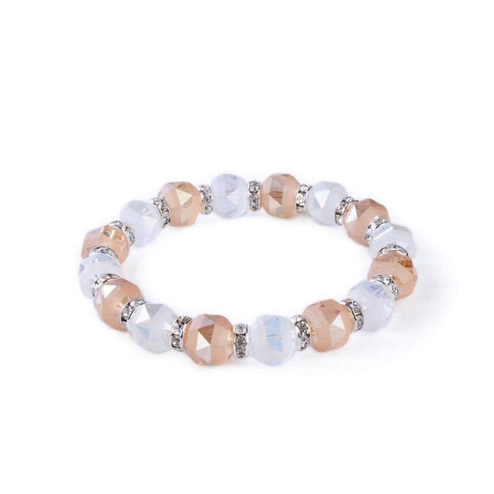 Kalifano Gorgeous Glass Jewelry Clear Crystal and Rose Gorgeous Glass Bracelet with Cubic Zirconia Crystals BLUE-BGG-N40