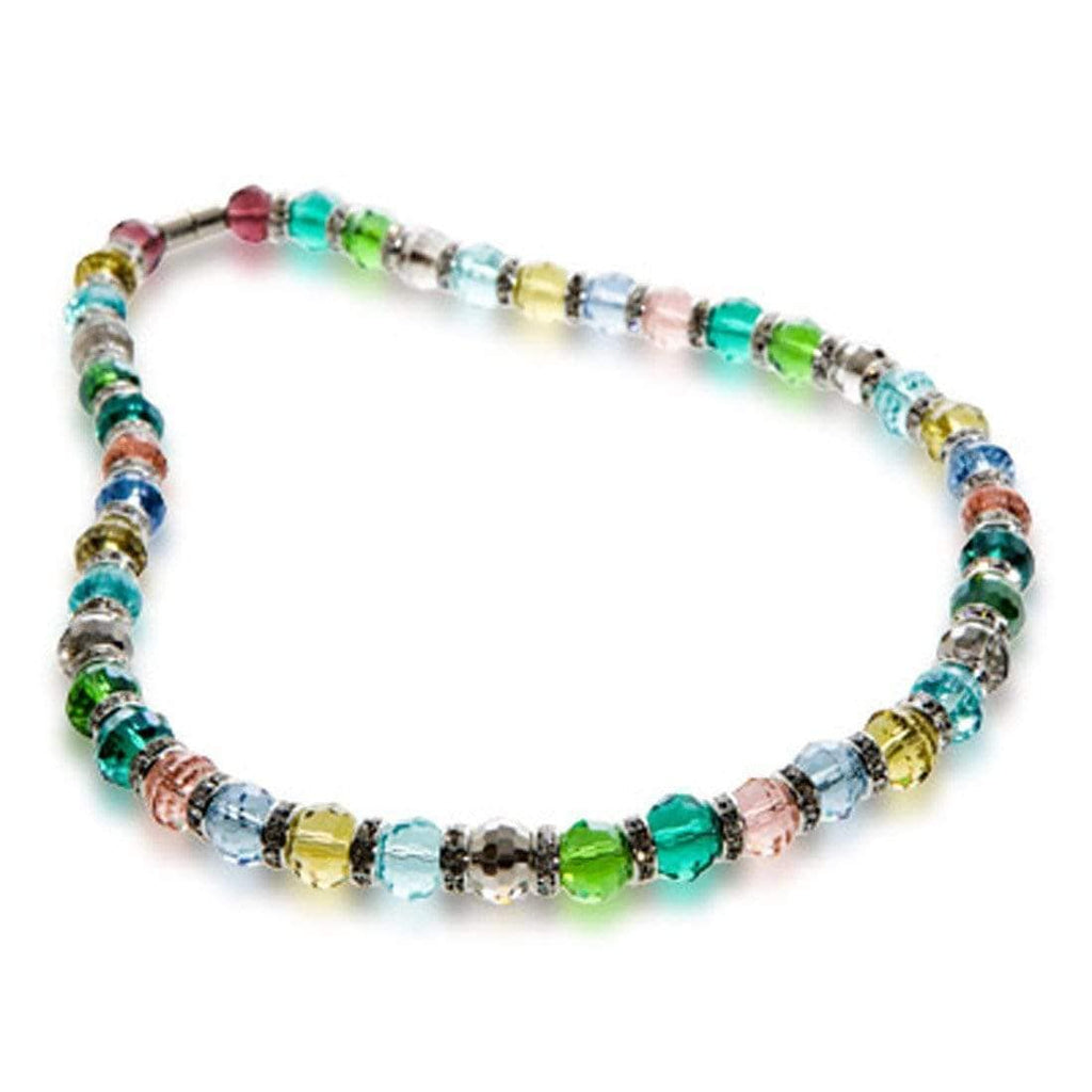 Kalifano Gorgeous Glass Jewelry Multicolored Gorgeous Glass Necklace with Cubic Zirconia Crystals WHITE-NGG-31