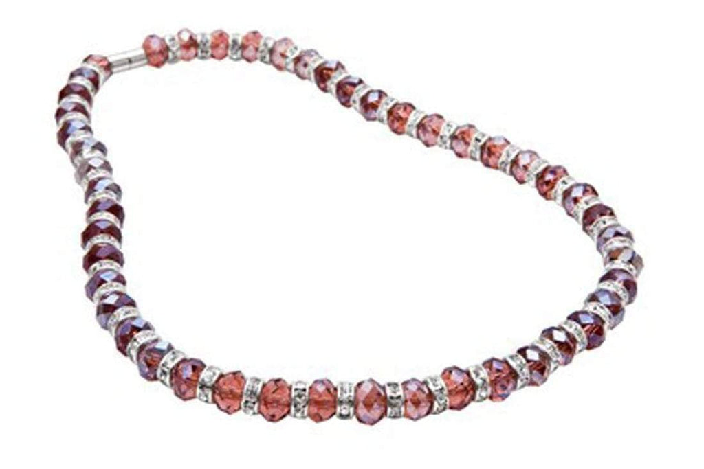 Kalifano Gorgeous Glass Jewelry Tourmaline Gorgeous Glass Necklace with Cubic Zirconia Crystals WHITE-NGG-11