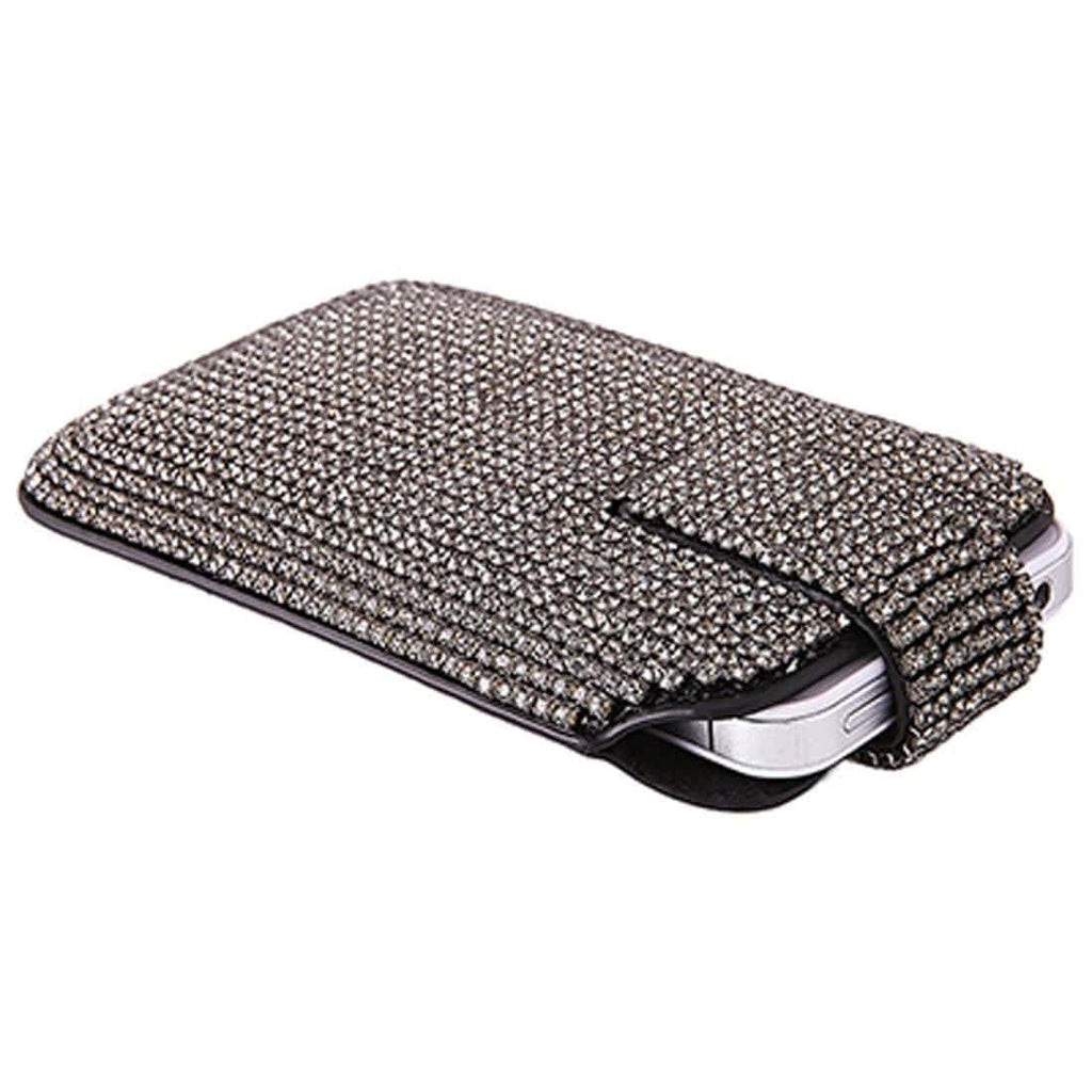 Kalifano iPhone SPC-001 - iPhone Case Made w/ Swarovski Crystals - Black Leather with Black Diamond Crystals SPC-001