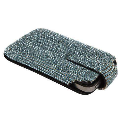 Kalifano iPhone SPC-002-AQ-B - iPhone 5SE/5S/5 Case Made w/ Swarovski Crystals  - Aquamarine Crystals SPC-002-AQ-B