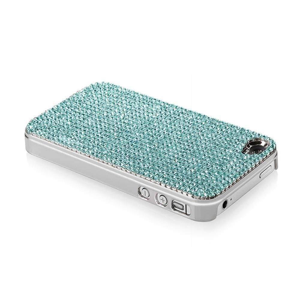 Kalifano iPhone SPC-022-A - iPhone 4 Case Made w/ Aquamarine Crystals SPC-022-A