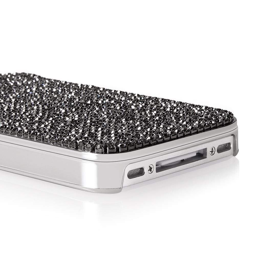 Kalifano iPhone SPC-022-BD - iPhone 4 Case Made w/ Black Diamonds Crystals SPC-022-BD