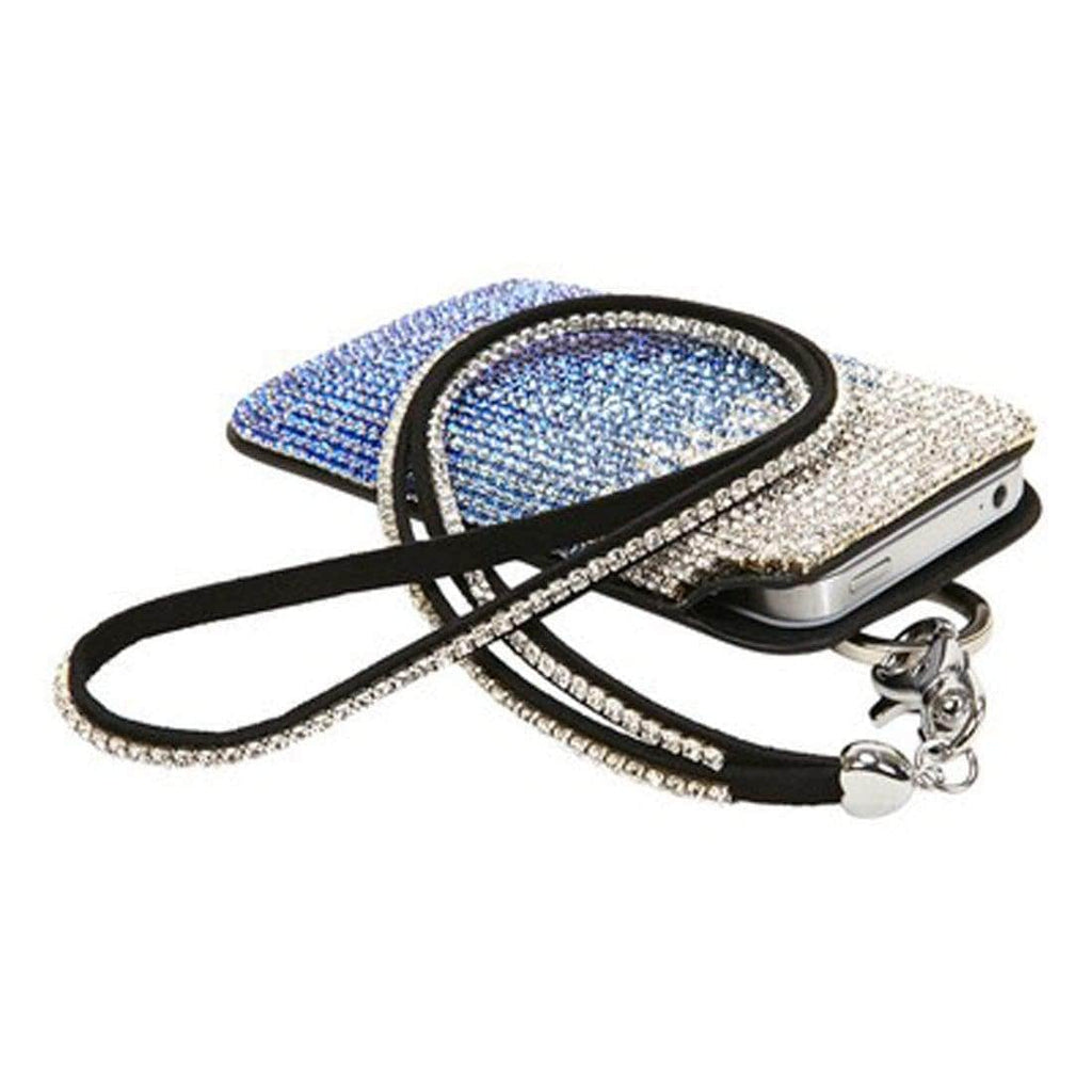 Kalifano iPhone SPC-023-CSB - Strap iPhone 5/6 Black Leather Case with Wave Design Crystal/Sapphire/Capri Blue Czech Crystals SPC-023-CSB